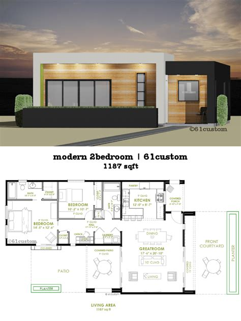 two bedroom homes modern 2 bedroom house plan 61custom contemporary