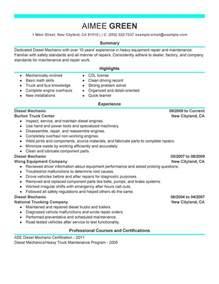 diesel mechanic resume sample my perfect resume