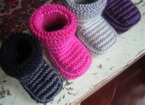 booties knitting knitted striped baby booties pattern