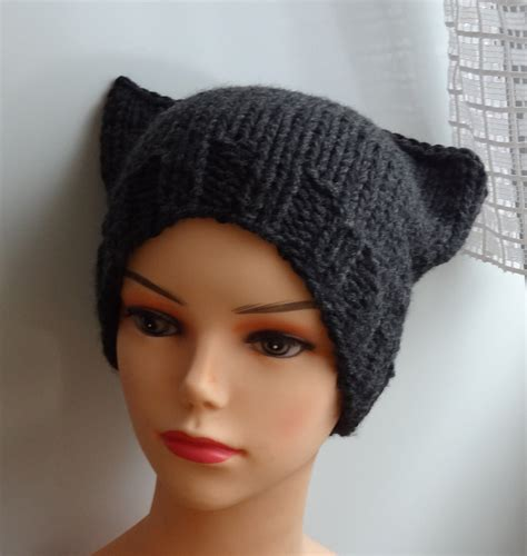 cat ear hat knitting pattern cat ears hat cat beanie chunky knit winter accessories by