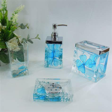 bathroom accessories blue sky blue floral acrylic bath accessory sets h4001 bingo e