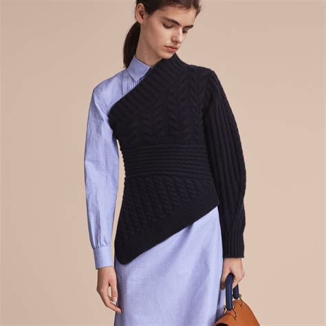 One Shoulder Cable Knit Sweater In Navy