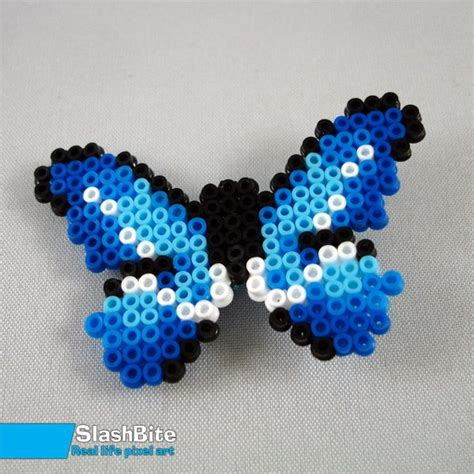 perler bead butterfly hairpin blue butterfly by slashbite awesome crafts hama
