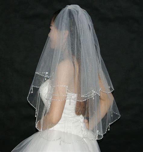 beaded wedding veil aliexpress buy bling wedding veils with