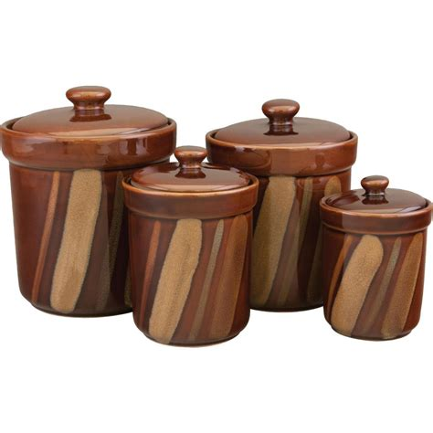 4 kitchen canister sets sango avanti canisters set in brown set of 4 4722 316