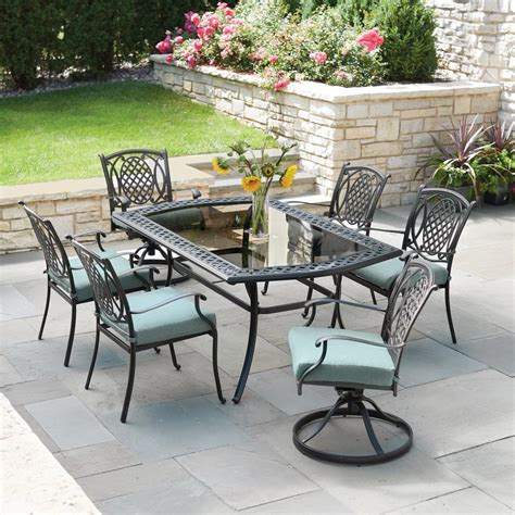 patio 7 dining set hton bay belcourt 7 metal outdoor dining set with
