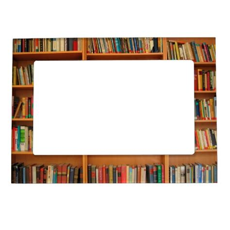 picture frame book books on bookshelf background magnetic photo frame zazzle