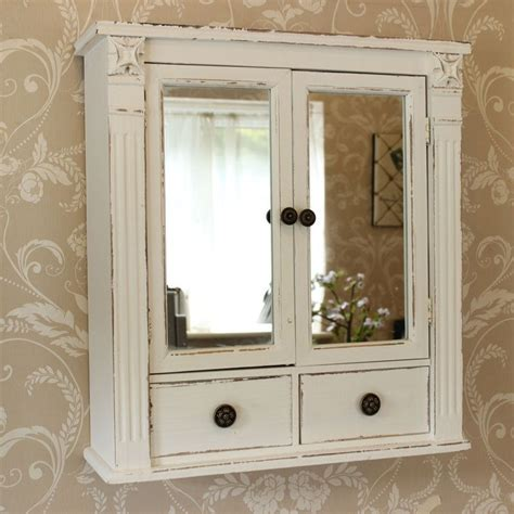 White Mirrored Bathroom Cabinet by White Wooden Mirrored Bathroom Wall Cabinet Shabby Vintage