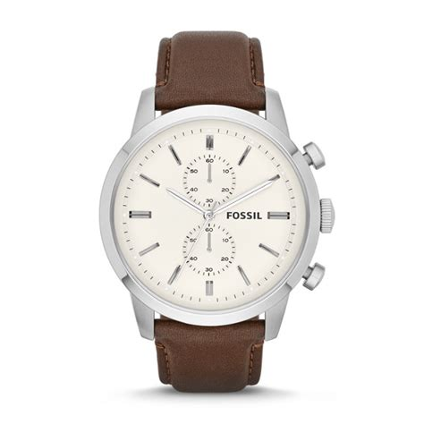 brown leather watches for townsman chronograph brown leather fossil