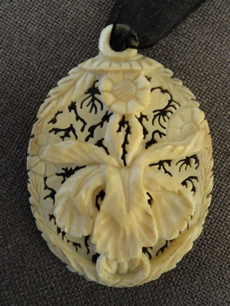carved bone carved floral bone pendant from on ruby