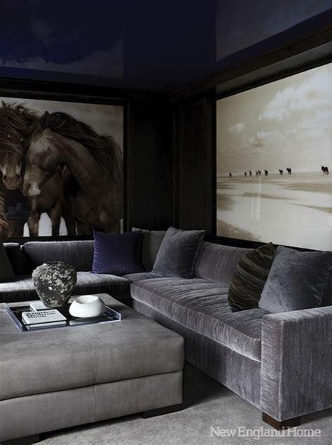 grey velvet sectional sofa gray velvet sectional contemporary media room new