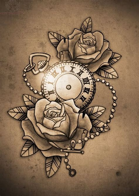 clock and roses tattoo design tattoo design pictures