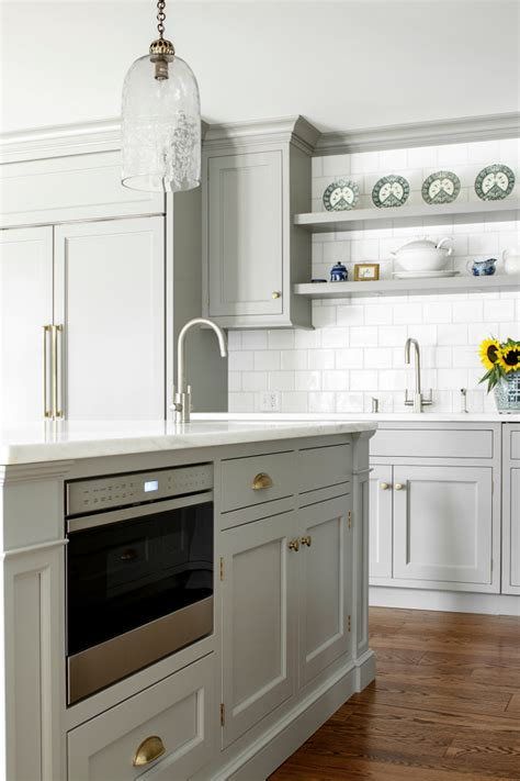 kitchen island with microwave custom kitchen with gray cabinets home bunch interior design ideas