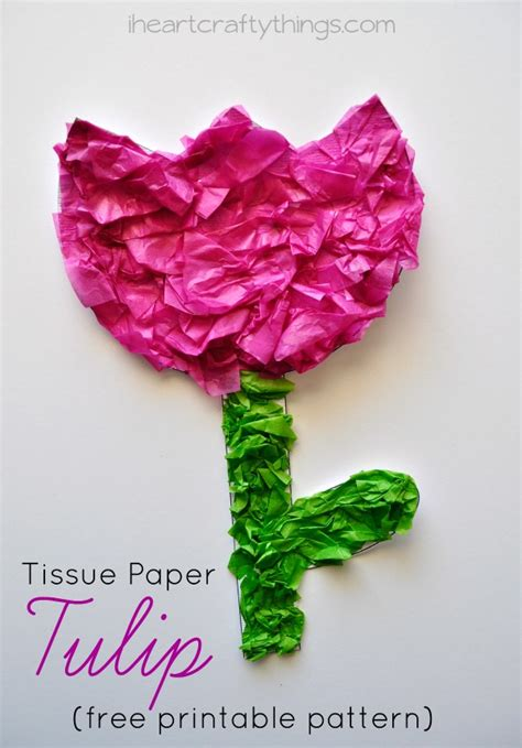 tissue paper flower craft for tissue paper tulip craft with printable pattern i