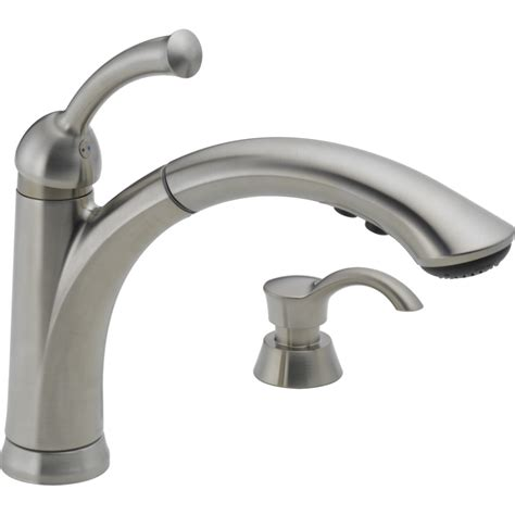 lowes faucets kitchen shop delta lewiston stainless 1 handle pull out kitchen