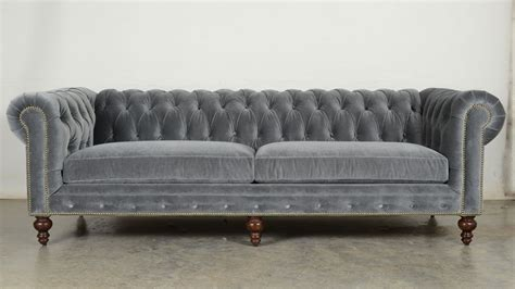 grey velvet chesterfield sofa ship classic chesterfield in cannes grey cloud
