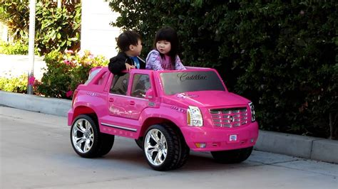 Pink Cadillac Power Wheels by Ariel Test Driving Power Wheels Pink Cadillac Escalade
