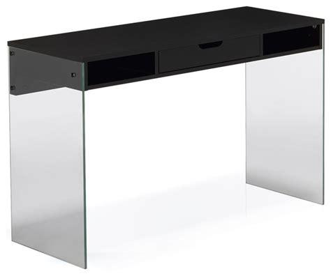 bureau noir avec pied en verre et tiroir moderne meuble bureau et secr 233 taire par