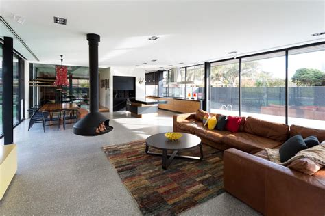 Scored Concrete Floors Living Room Contemporary With