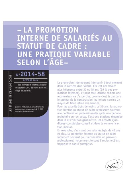 etude apec la promotion interne de salari 233 s au statut de