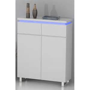 miliboo meuble d appoint d entr 233 e design laqu 233 blanc et led voka pas cher achat vente