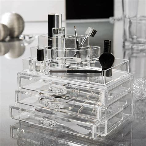 grande boite bijoux maquillage 3 tiroirs 24x15x18 7cm organizer transparent