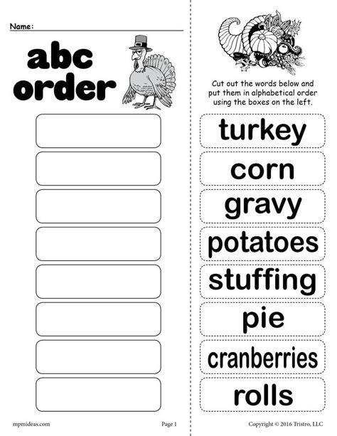 Free Thanksgiving Themed Alphabetical Order Worksheet! Supplyme