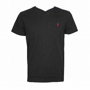 Ralph Lauren Polo T-shirt V-Neck Mens Black
