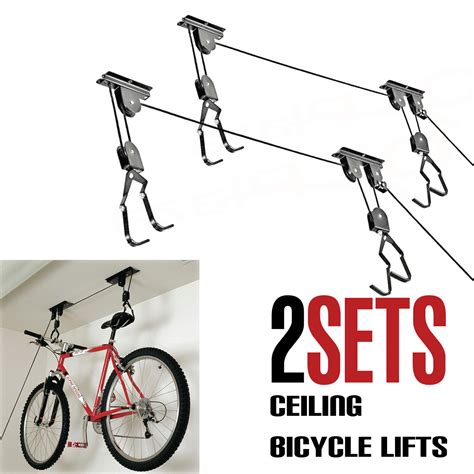 bike bicycle lift ceiling mounted hoist storage garage hanger pulley rack 2 pack ebay