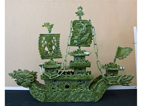 Jade Dragon Boat Carving by Chinese Hand Carved Jade Dragon Boat Sculpture Jade