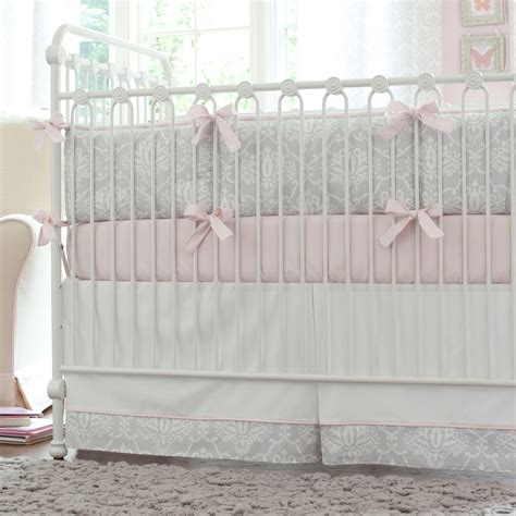 Pink Crib Bedding by Pink And Gray Damask Crib Bedding Baby Bedding For