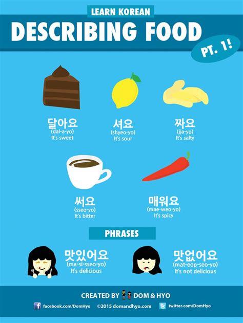 Describing Food In Korean  Learning Korean  Pinterest  Korean, Foods And Korean Language
