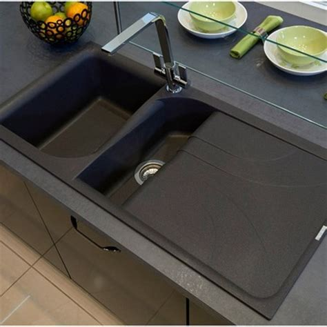 Kitchen Sink Materials Pros And Cons Uk by Reginox Ego Black Granite 1 5 Bowl Kitchen Sink Mayfair