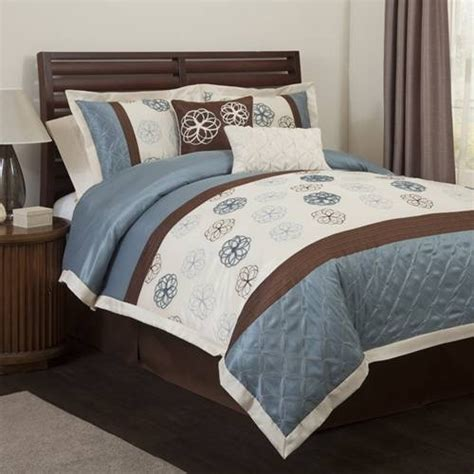 blue and brown bedding bedroom