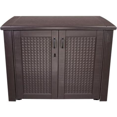 Rubbermaid Deck Box Home Depot by Rubbermaid 123 Gal Chic Basket Weave Patio Storage Deck