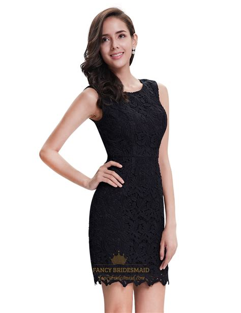 Elegant Black Lace Column Sleeveless Mini Cocktail Party