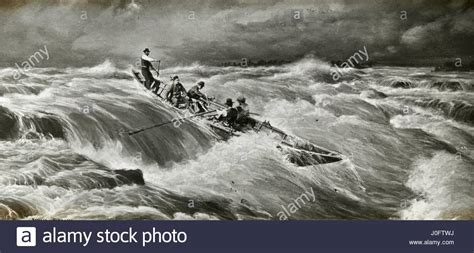 Rowboat In The Rain by Painting Of 5 Men On A Row Boat In A Storm Stock Photo
