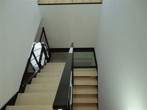escalier acier bois et palier interm 233 diaire verre verri 232 re int 233 rieure contemporain