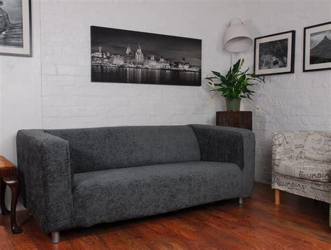 grey roma linen textured chenille ikea klippan sofa cover hipica interiors