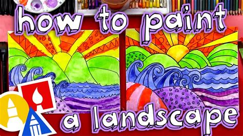 How To Paint A Beautiful Landscape (for Kids)  Youtube