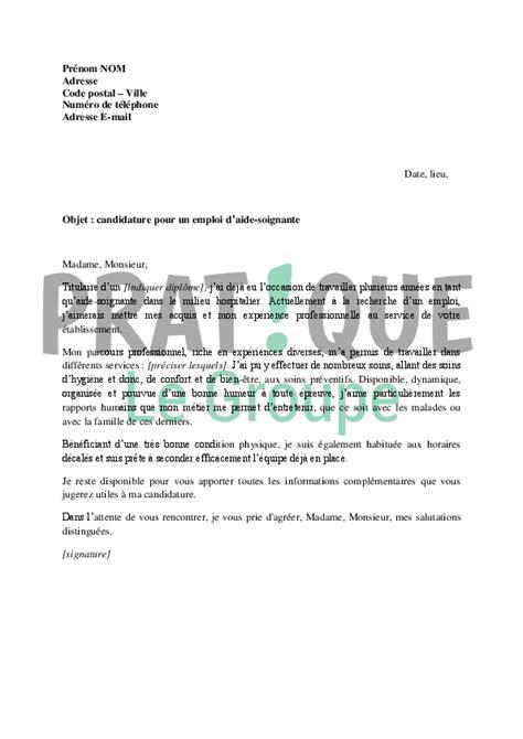 lettre de motivation pour un emploi d aide soignante