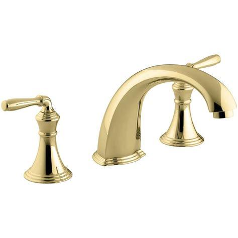 shop kohler devonshire vibrant polished brass 2 handle deck mount bathtub faucet at lowes