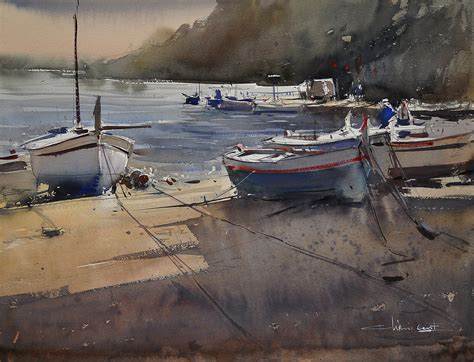 Boat In The Water In Spanish by Eugen Chisnicean Spanish Boats I Watercolor