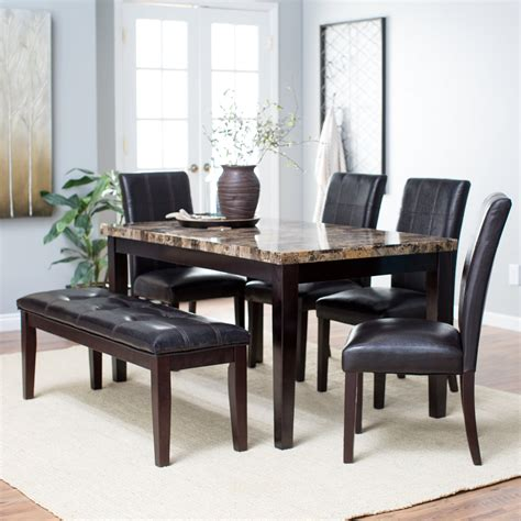 5 Dining Room Set With Bench by Finley Home Palazzo 6 Dining Set With Bench