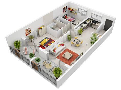 Plan 3d : 2 Bedroom Apartment/house Plans