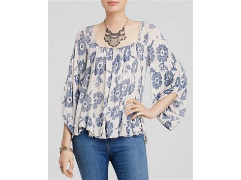Free People Zoe Floral Print Blouse In Gray