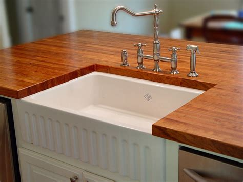 Awesome White Apron Sink With Wood