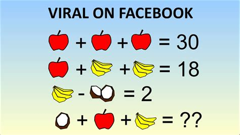 "Viral Math Problem ""stumping The Internet""  Coconut Plus Apple Plus Banana Youtube"