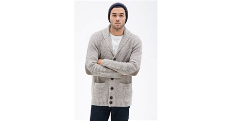 Forever 21 Marled Shawl Collar Elbow Patch Cardigan In Brown For Men