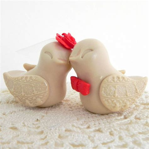 bird cake toppers beige and tangerine birds cake topper by caketoppers